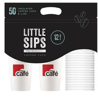 MyCafe 12oz Caddy Cups and Lids, Pack of 50 - HVDWCP12MC