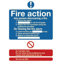 Niteglo Fire Action 300 x 250mm Safety Sign - FR03527L