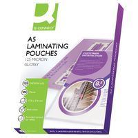 Q-Connect A5 250 Micron Gloss Laminating Pouches, Pack of 100 - KF04108