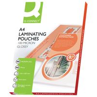 Q-Connect A4 200 Micron Gloss Laminating Pouches, Pack of 100 - KF04115