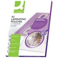 Q-Connect A3 250 Micron Gloss Laminating Pouches, Pack of 100 - 6527099