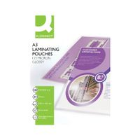 Q-Connect A3 250 Micron Gloss Laminating Pouches, Pack of 25 - KF04128