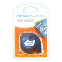 Dymo LetraTag Plastic 12mm Label Tape - Black & White - S0721610