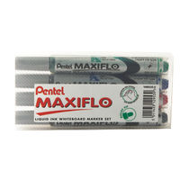 Pentel Maxiflo Assorted Whiteboard Markers, Pack of 4 - YMWL5S-4