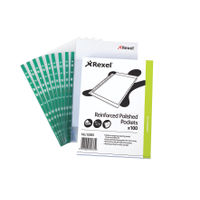 Rexel Reinforced Polished A4 Punched Pockets, 80 Micron - Pack of 100 - 12265