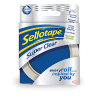 Sellotape Super Clear Tape, 24mm x 50m, Pack of 6 - 1443855