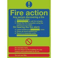 Niteglo Fire Action 300 x 250mm PVC Safety Sign - FR03527M