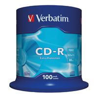 View more details about Verbatim White Face 700MB 52x Extra Protection CD-R, Pack of 100 - 43411