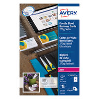 Avery Quick&Clean Business Cards, 270gsm, Satin, White - Pack of 250 - C32026-25