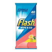 Flash Wipe & Go Lemon Cleaning Wipes, Pack of 40 - 5410076791750