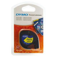 View more details about Dymo LetraTag Plastic Label Tape - Black on Yellow - S0721620