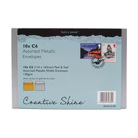 Blake Assorted Metallic C6 Peel & Seal Envelopes 130gsm, Pack of 10 - MTC6/10 PR