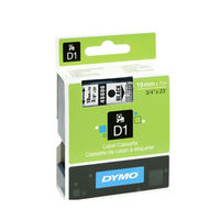 Dymo D1 Label Cassette, Black on Clear 19mm x 7m Tape - S0720820
