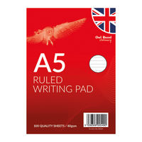 Owl Brand Stationery Ruled A5 Writing Pad, Pack of 12 - OBS329