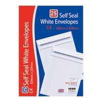 White C4 Self Seal Envelopes x 25, Pack of 20 - OBS755
