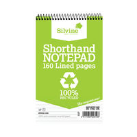 View more details about Silvine Everyday Recycled Shorthand Wirebound Notepad, Pack of 12 - RE160-T