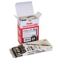24 x Pentel Medium EnerGel Xm Retractable Gel Pens in Black - BL77/24-A