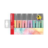 Stabilo Boss Assorted Pastel Original Highlighters, Pack of 6 - 70/4-2