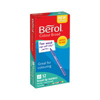 View more details about Berol Assorted Broad Fibre Felt Tipped Pens, Pack of 12 - S0375410