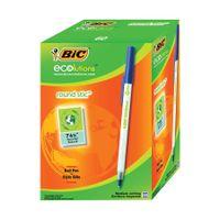 Bic Ecolutions Medium Blue Ballpoint Pens, (Pack of 60) - 893240