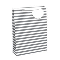 View more details about White/Silver Striped Large Gift Bags, Pack of 6 - 26658-2