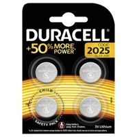 Duracell 2025 Lithium Coin Battery, Pack of 4 - ECR2025