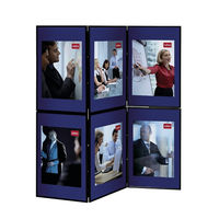 View more details about Nobo Lightweight Showboard, 6 Panel, Blue/Grey - 1900043