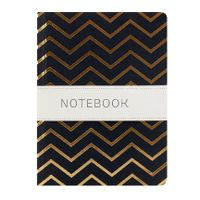 View more details about Go Stationery A6 Black With Gold Chevron Notebook - 6PN406D