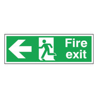Fire Exit Arrow Left 150 x 450mm Self Adhesive Safety Sign - E98A/S