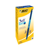 BIC Softfeel Clic Grip Blue Ballpoint Retractable Pens, Pack of 12 - 837398