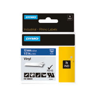 Dymo Vinyl Tape 12mm Black on White - 18444