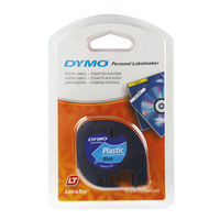 View more details about Dymo LetraTag Plastic Label Tape - Black on Blue - ES91205