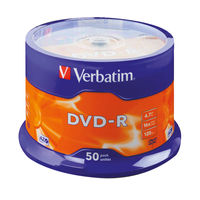 View more details about Verbatim Matt Silver 4.7GB 16x Speed DVD-R Surface Discs, Pack of 50 - 43548