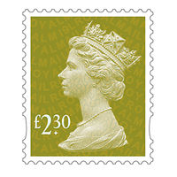Royal Mail £2.30 Postage Stamps x 25 Pack (Self Adhesive Stamp Sheet)