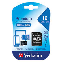View more details about Verbatim 16GB Micro SDHC Memory Card with Adaptor - 44082