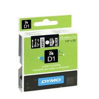 Dymo D1 Standard Label Tape White on Black - S0720610