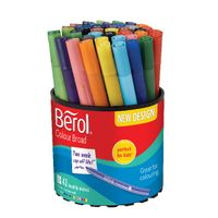 View more details about Berol Assorted Colour Broad Felt Tip Pens Tub, Pack of 42 - CBT