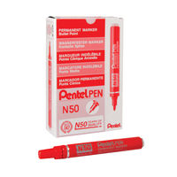 View more details about Pentel N50 Bullet Tip Red Permanent Marker Pens, Pack of 12 - N50-B