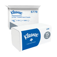 View more details about Kleenex Ultra 2 Ply White Paper Hand Towels (15 Packs of 124) - M02019