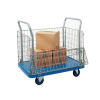 View more details about Mesh Sided Platform Trolley (Fitted with 4 x 130mm rubber castors)  PPU23Y
