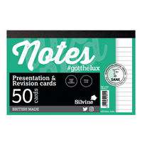 Silvine White Revision and Presentation Cards, Pack of 20 - CR50-C