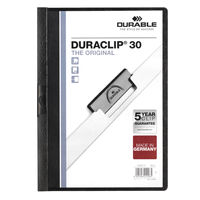 Durable Duraclip Black A4 Folder 3mm, Pack of 25 - 2200/01