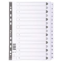 Guildhall White A4 1-15 Mylar Index, Pack of 20 - MWD1-15Z