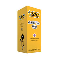Bic Round Stic Grip Purple Pens, Pack of 40 - 920412