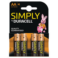 Duracell AA Simply Batteries, Pack of 4 - 81235210