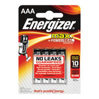 Energizer MAX AAA Batteries, Pack of 4 - E300124200