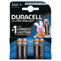 Duracell Ultra M3 AAA/LR03 Batteries, Pack of 4 - 75051959