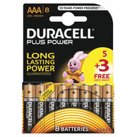 Duracell AAA Plus Power Batteries, Pack of 8 - PLUS POWER AAA 5+3