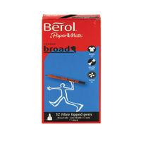 Berol Black Broad Fibre Felt Tipped Pens, Pack of 12- CB01