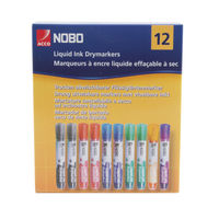 Nobo Assorted Colours Liquid Ink Drywipe Markers, Pack of 12 - 1901072